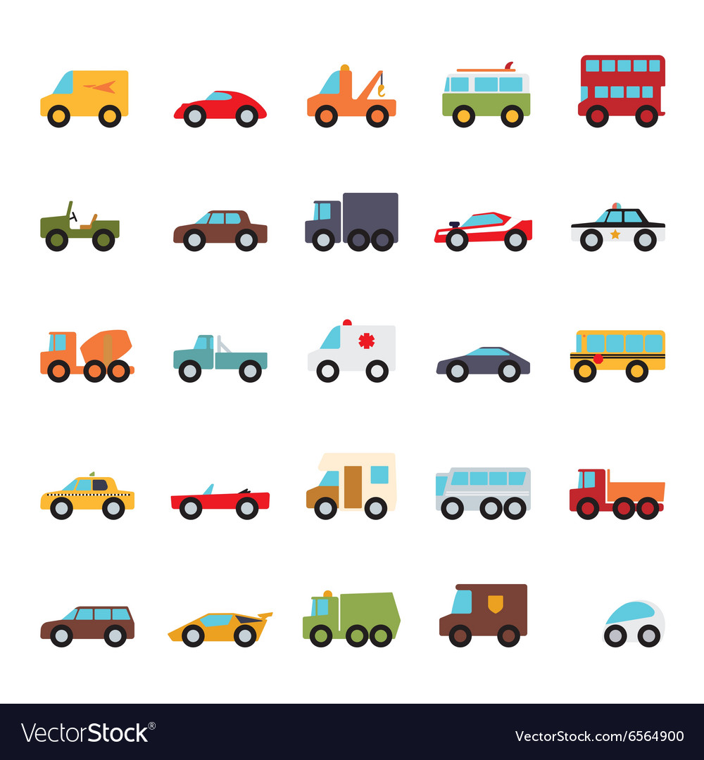 Automobiles flat design icons collection vector