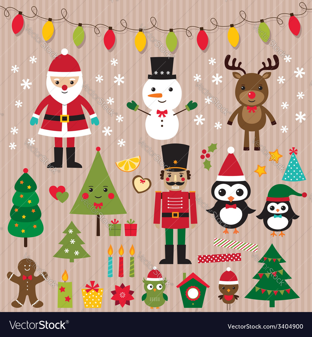 Christmas lights and design elements set vector