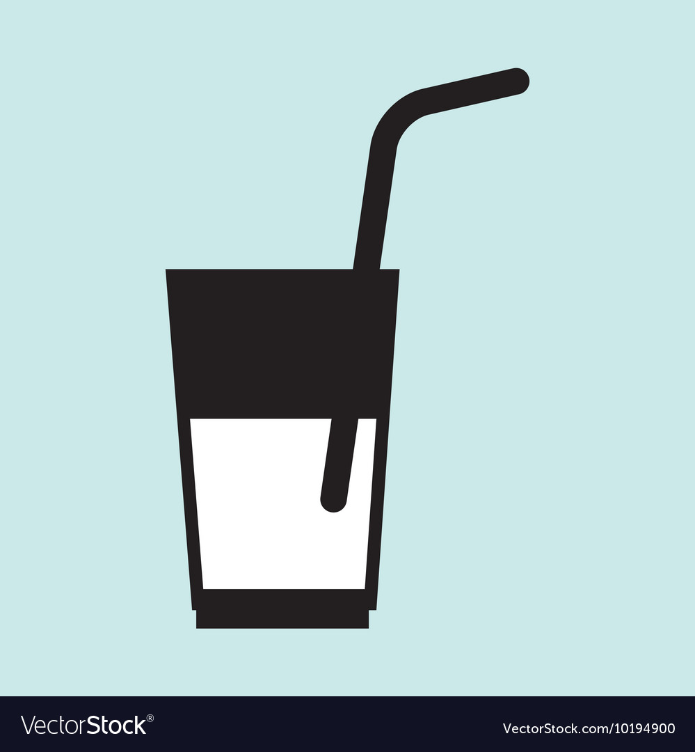 Cup glass straw cold vector