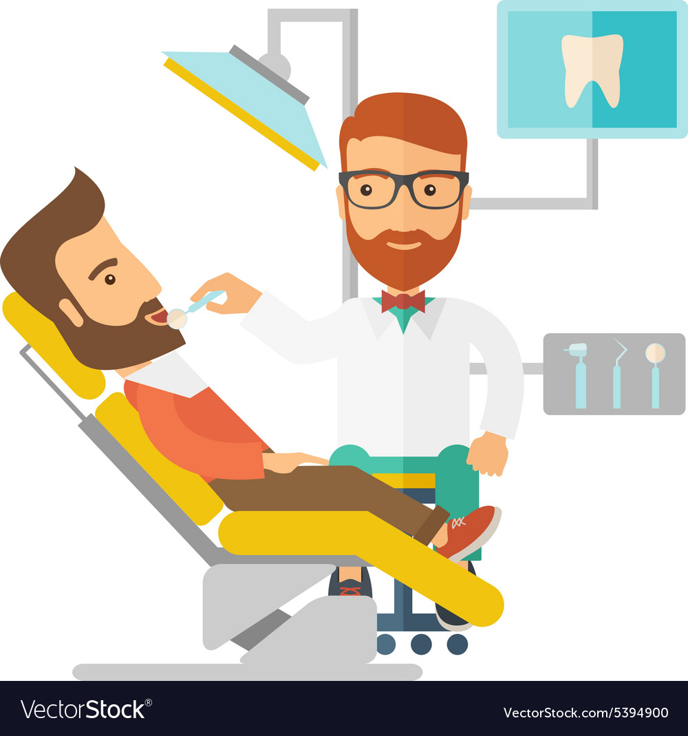 Dentist man examines a patient teeth in the clinic vector