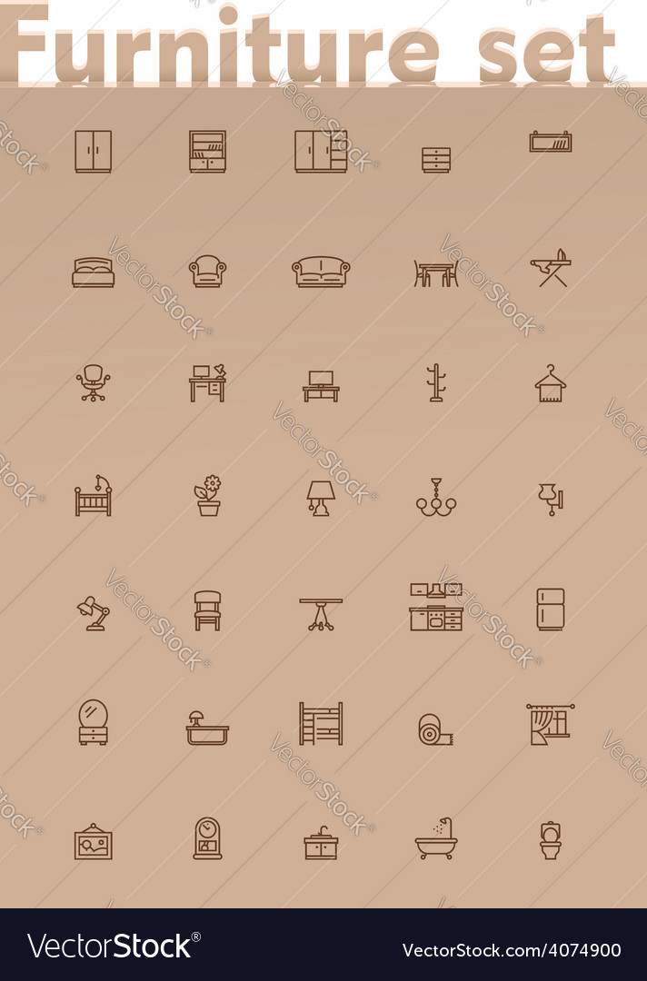 Domestic furniture icon set vector