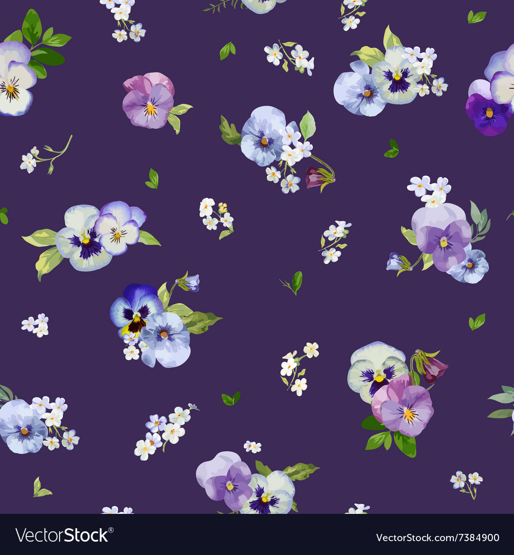 Pansy flowers background  seamless floral shabby vector