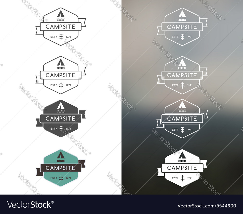 Set of outdoor adventure and forest camp hiking vector