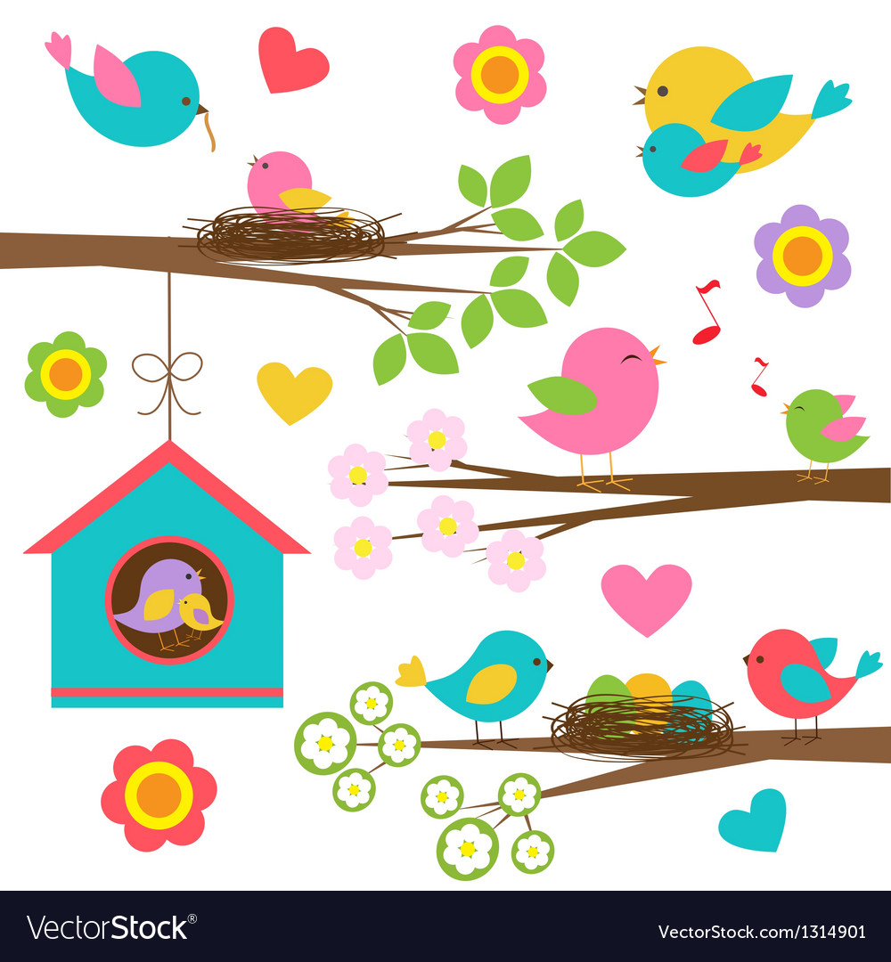 Family of birds vector