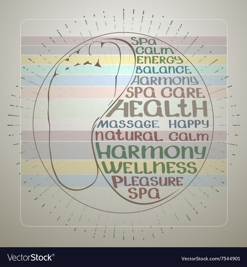 Hand drawn foot and spa theme handwritten words vector