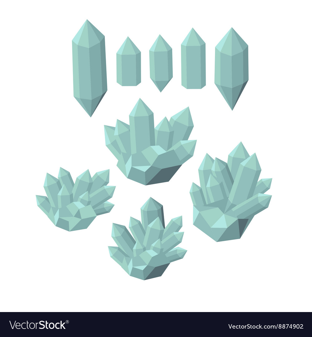 Colorful shiny bright crystals polygon stone vector