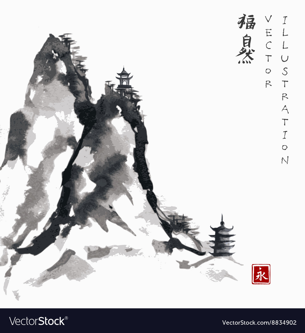 High mountains with pagodas handdrawn with ink vector