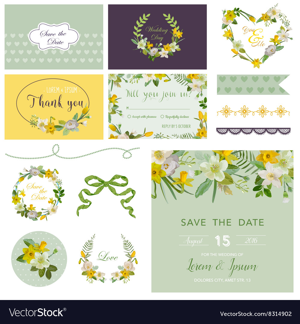 Scrapbook design elements  wedding spring flower vector