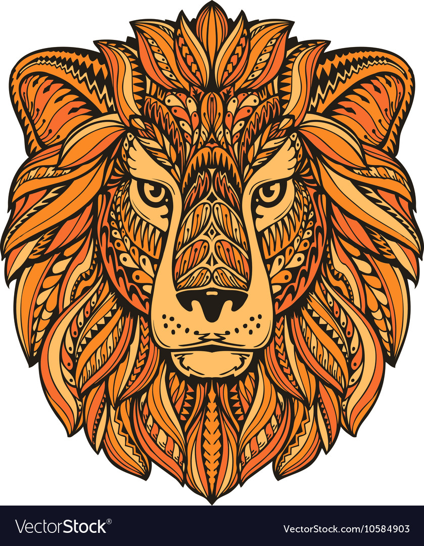 Lion painted tribal ethnic ornament hand drawn vector