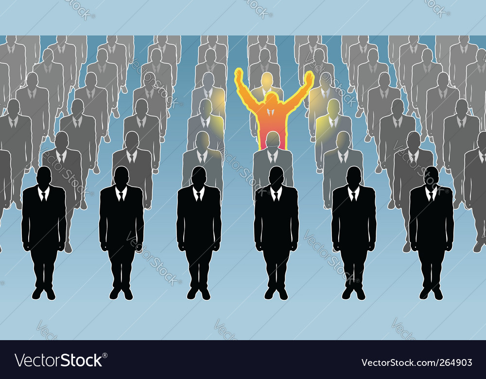 Man standing out from crowd vector