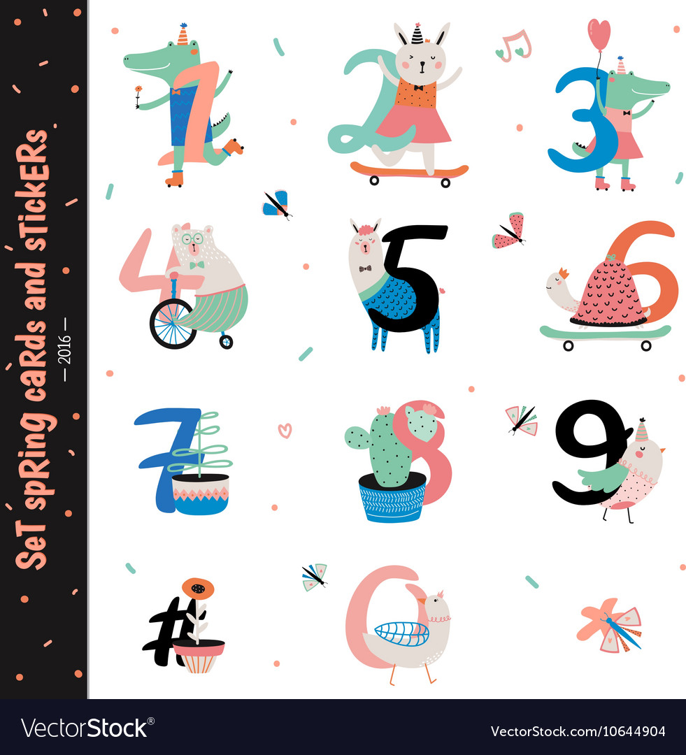 Set of birthday anniversary numbers vector