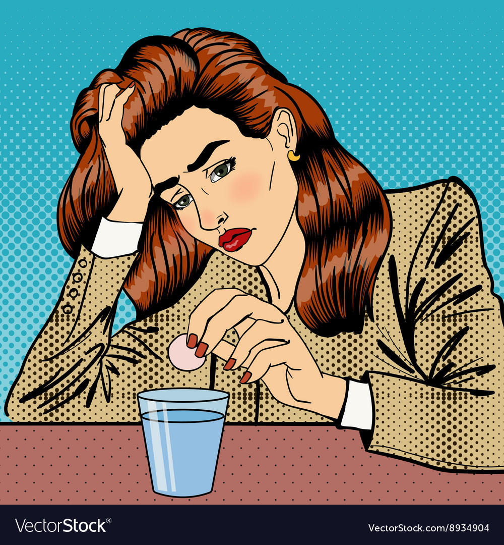 Stress at work girl drinking pills business woman vector