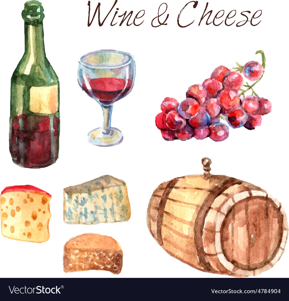 Wine and cheese watercolor pictograms set vector