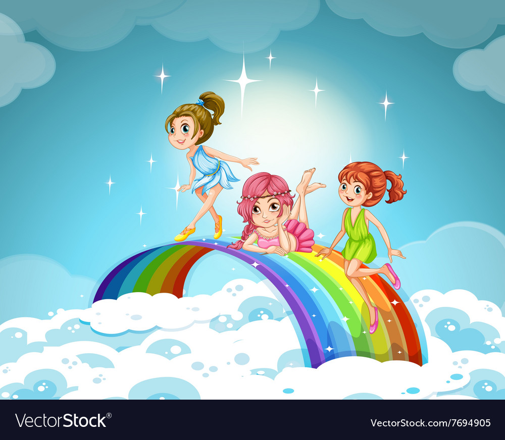 Fairies flying over the rainbow vector