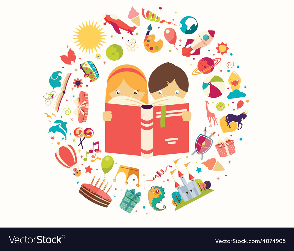 Imagination concept boy and girl reading a book vector