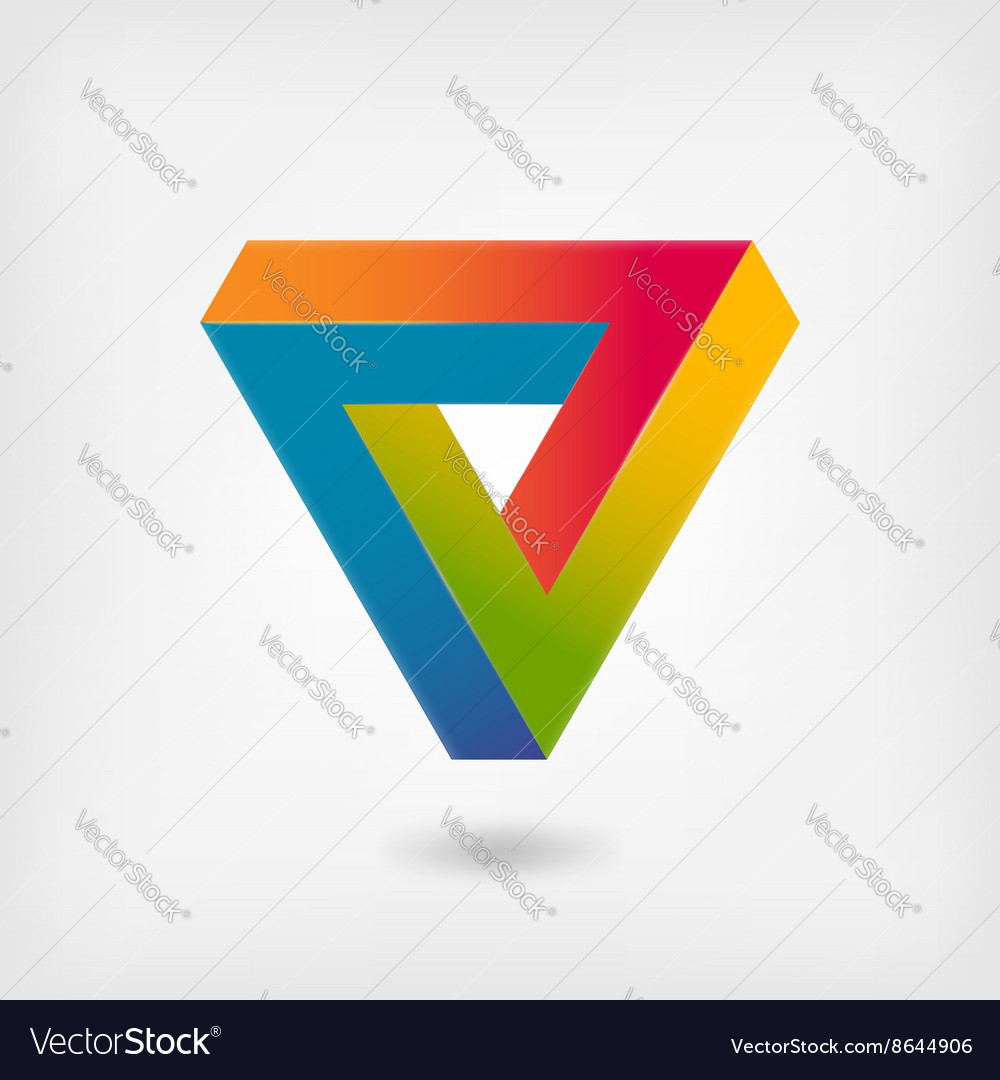 Penrose triangle multicolor abstract symbol vector
