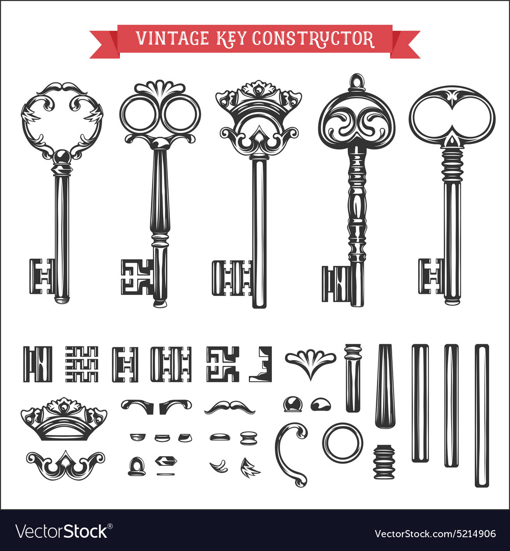 Vintage key constructor old keys set vector