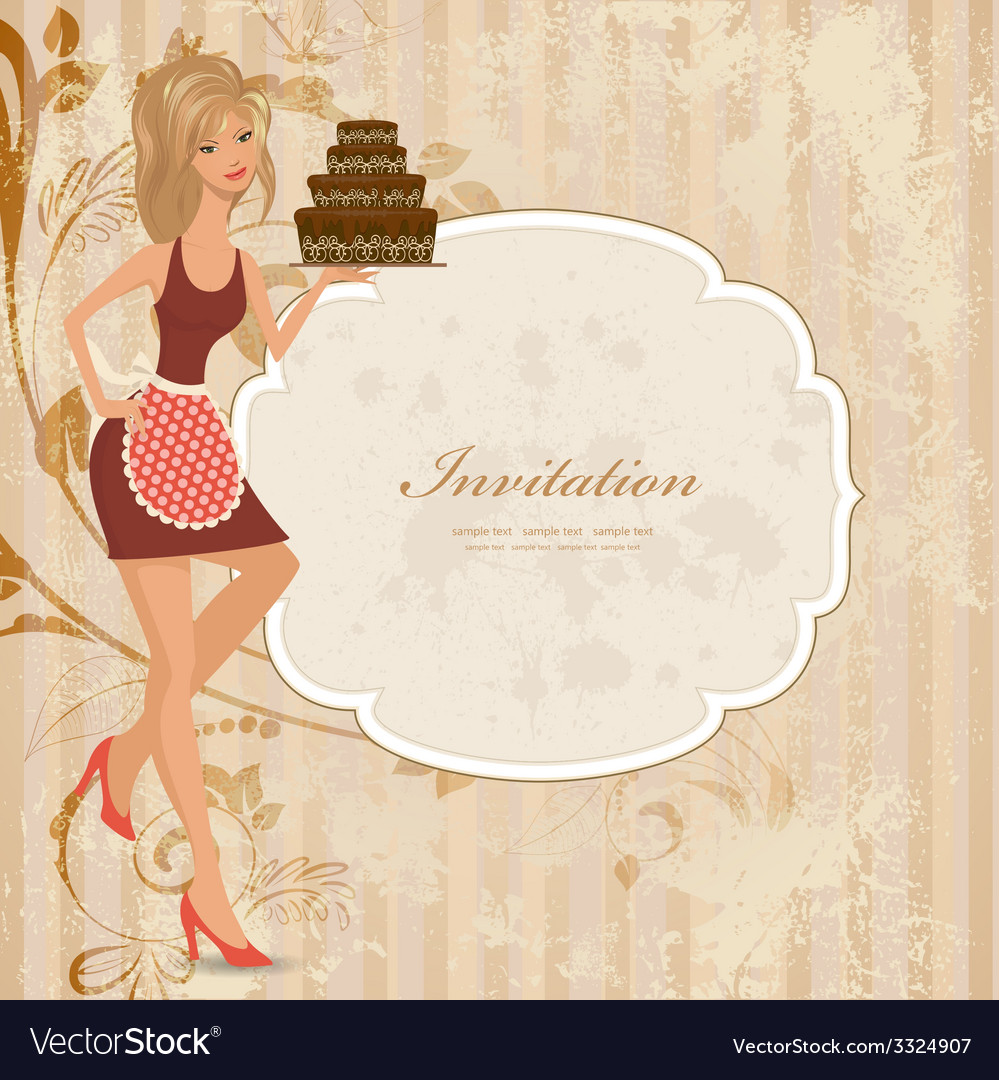 Beautiful young woman with chocolate cake vector
