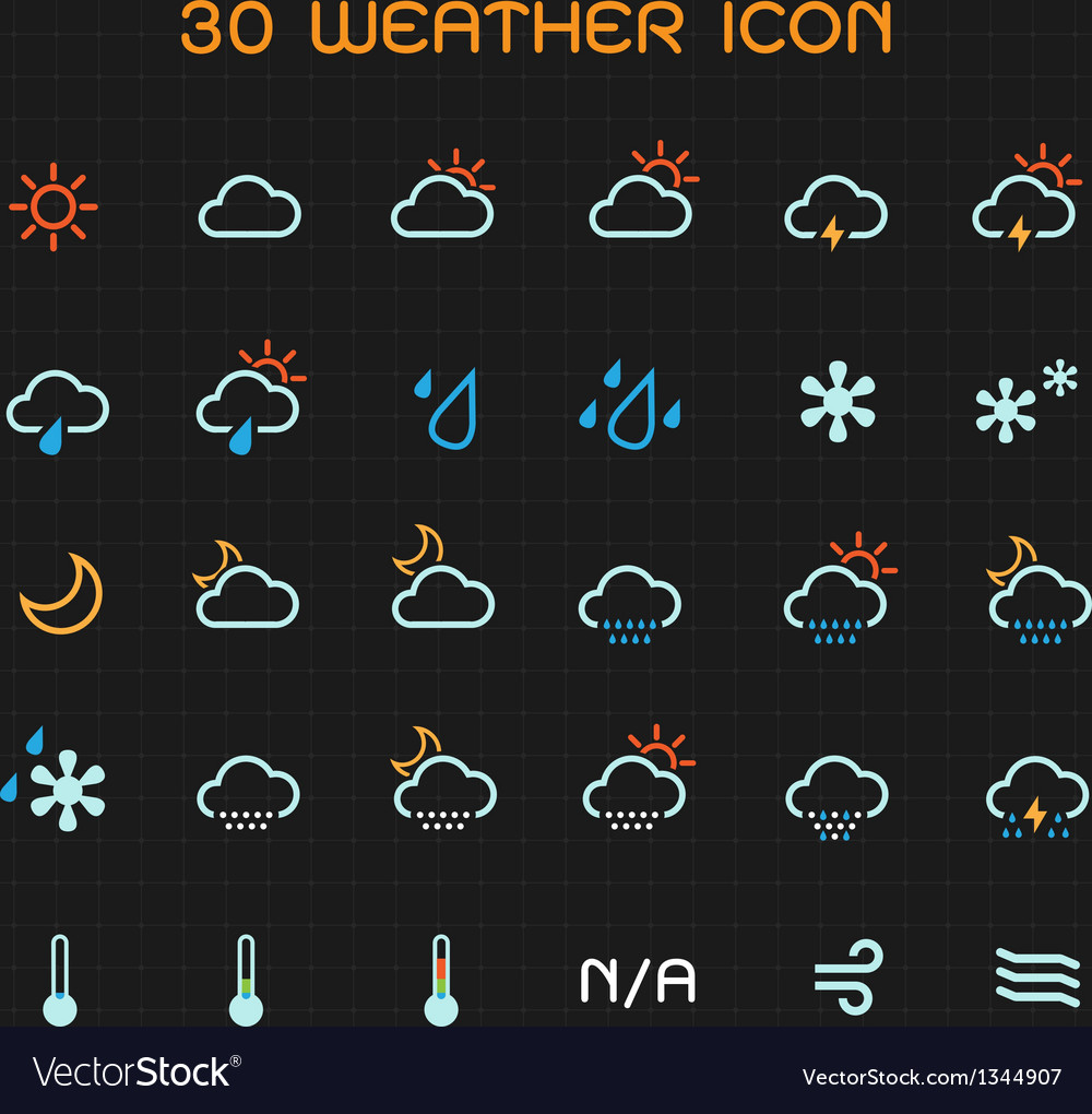 Full color weather icon set vector