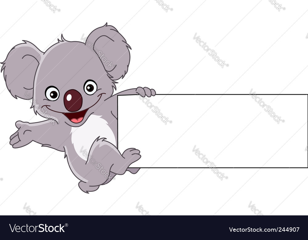 Koala with sign vector