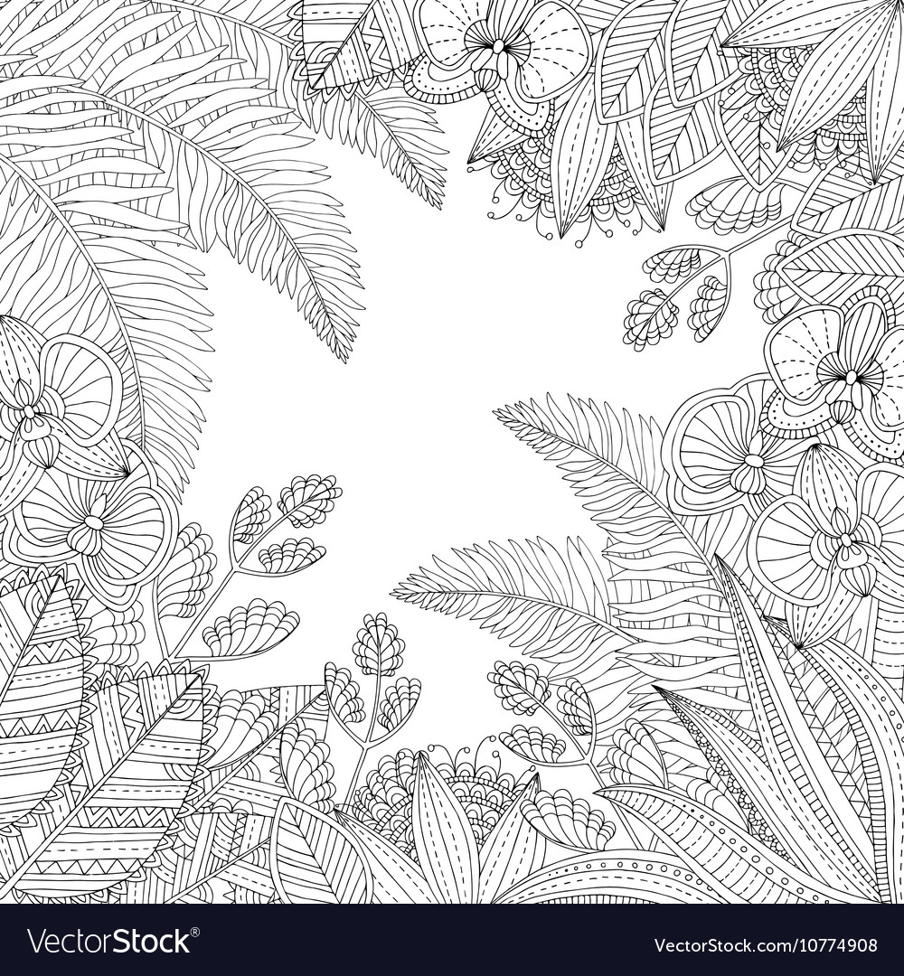 Hand drawn tropical with vector