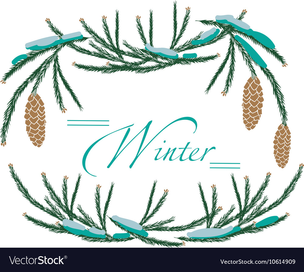 Frame winter tree cones vector