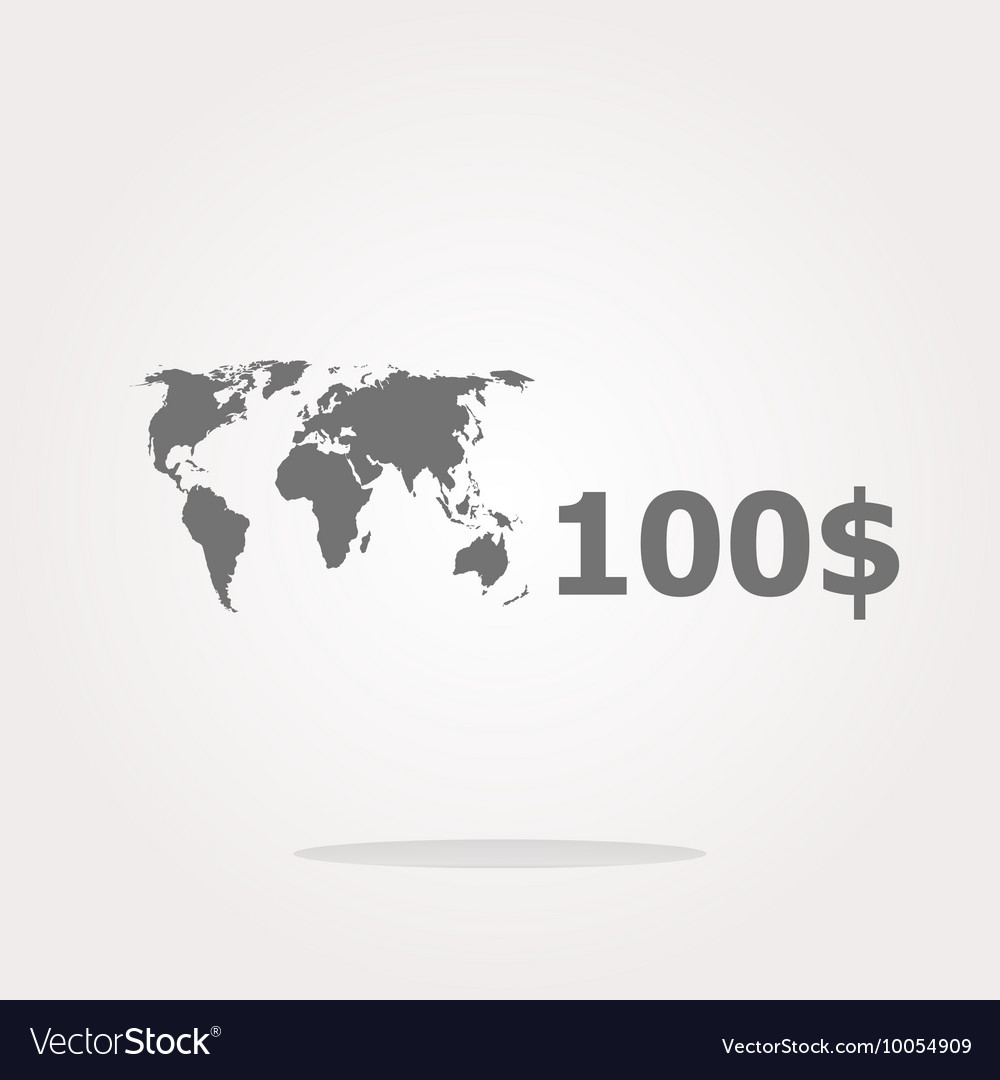 Glossy money bag icon with dollars and world map vector