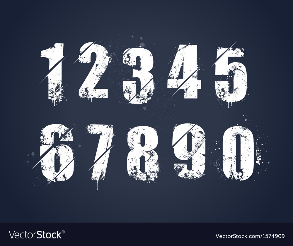 Grunge dirty painted numbers vector