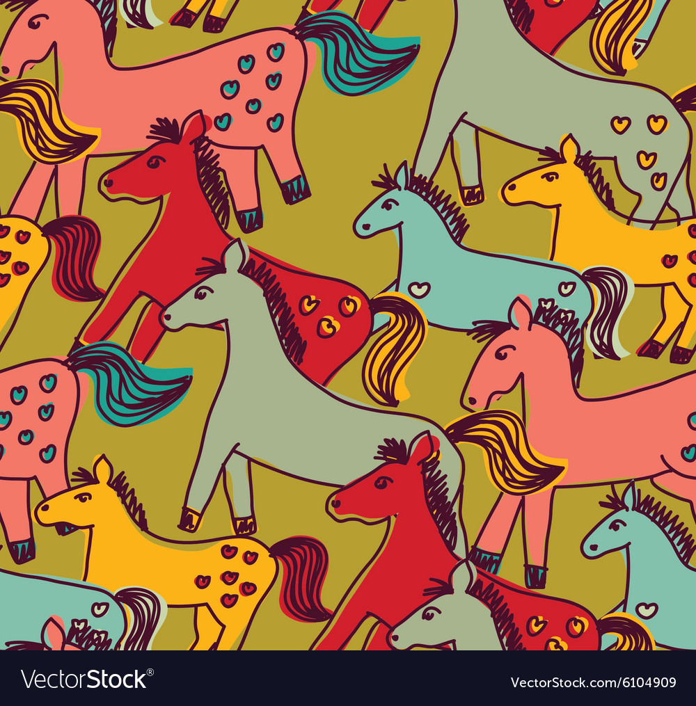 Horses seamless pattern color vector
