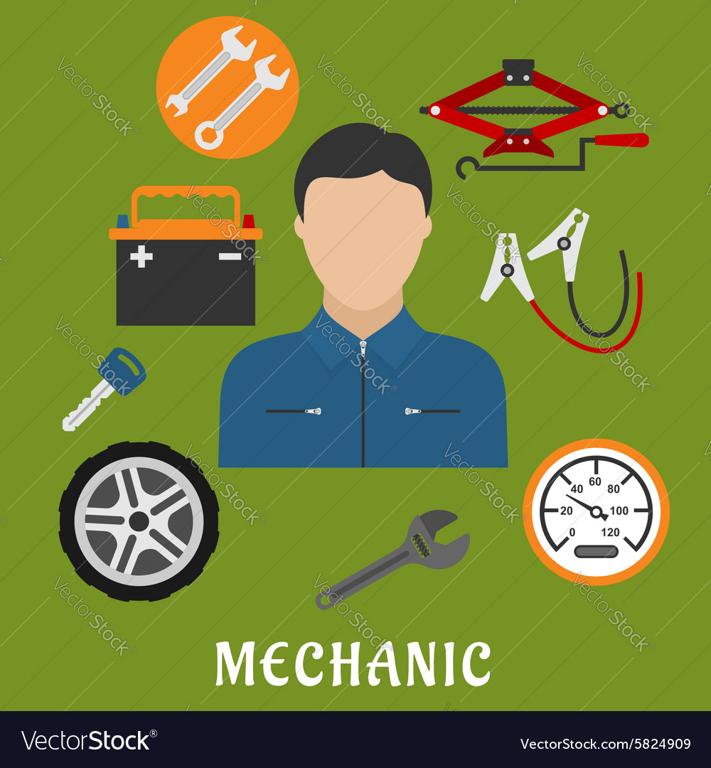 Mechanic man and car details vector
