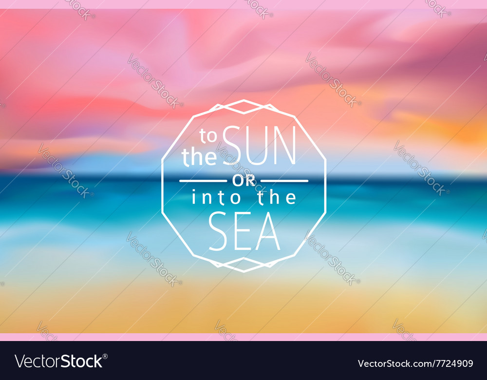Sunset beach blurred background with line sign vector