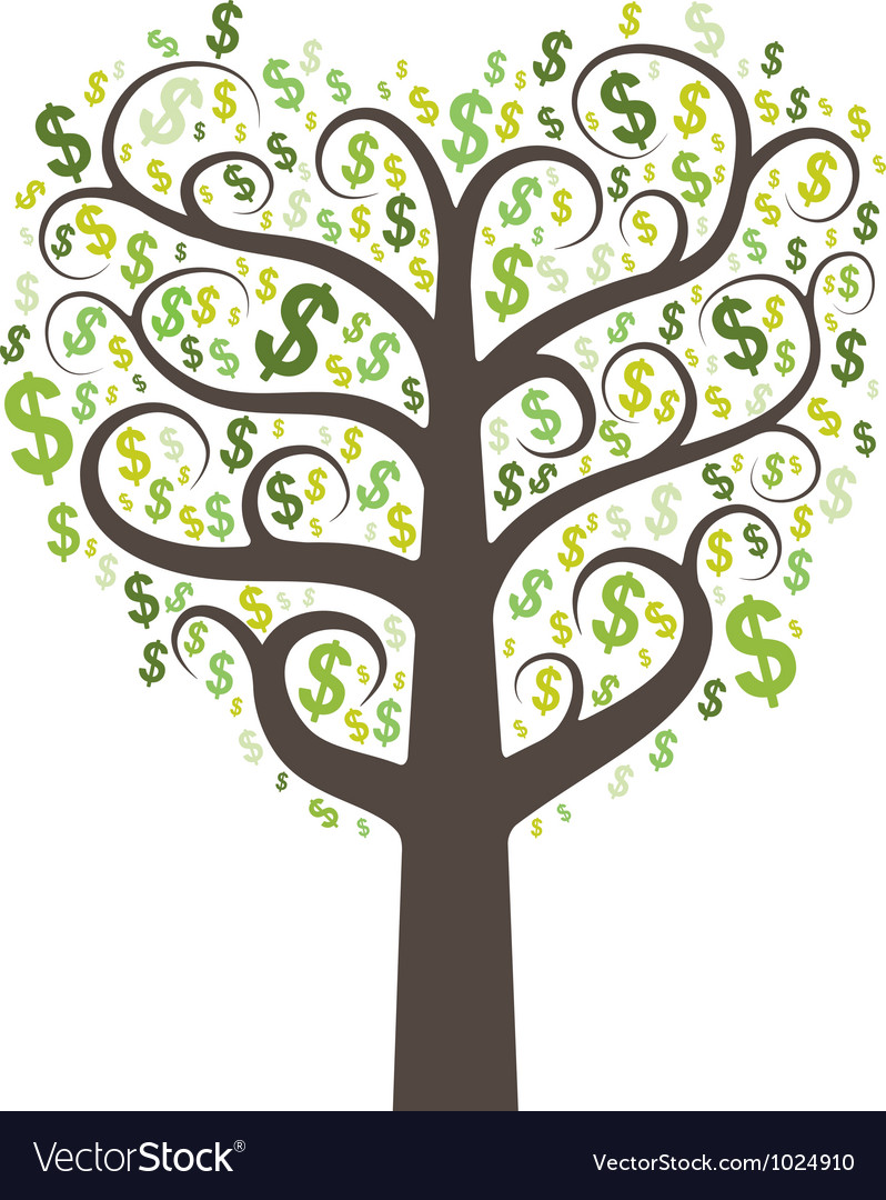 Abstract money tree with dollars vector