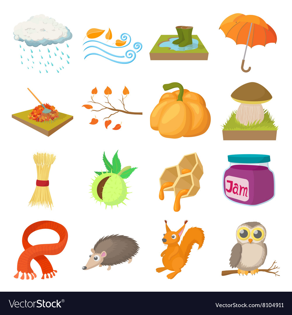Autumn icons set cartoon style vector