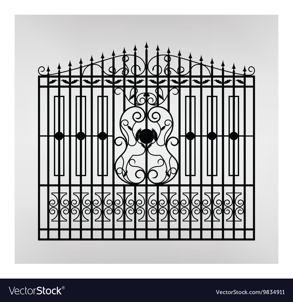 Forged gate icon vector