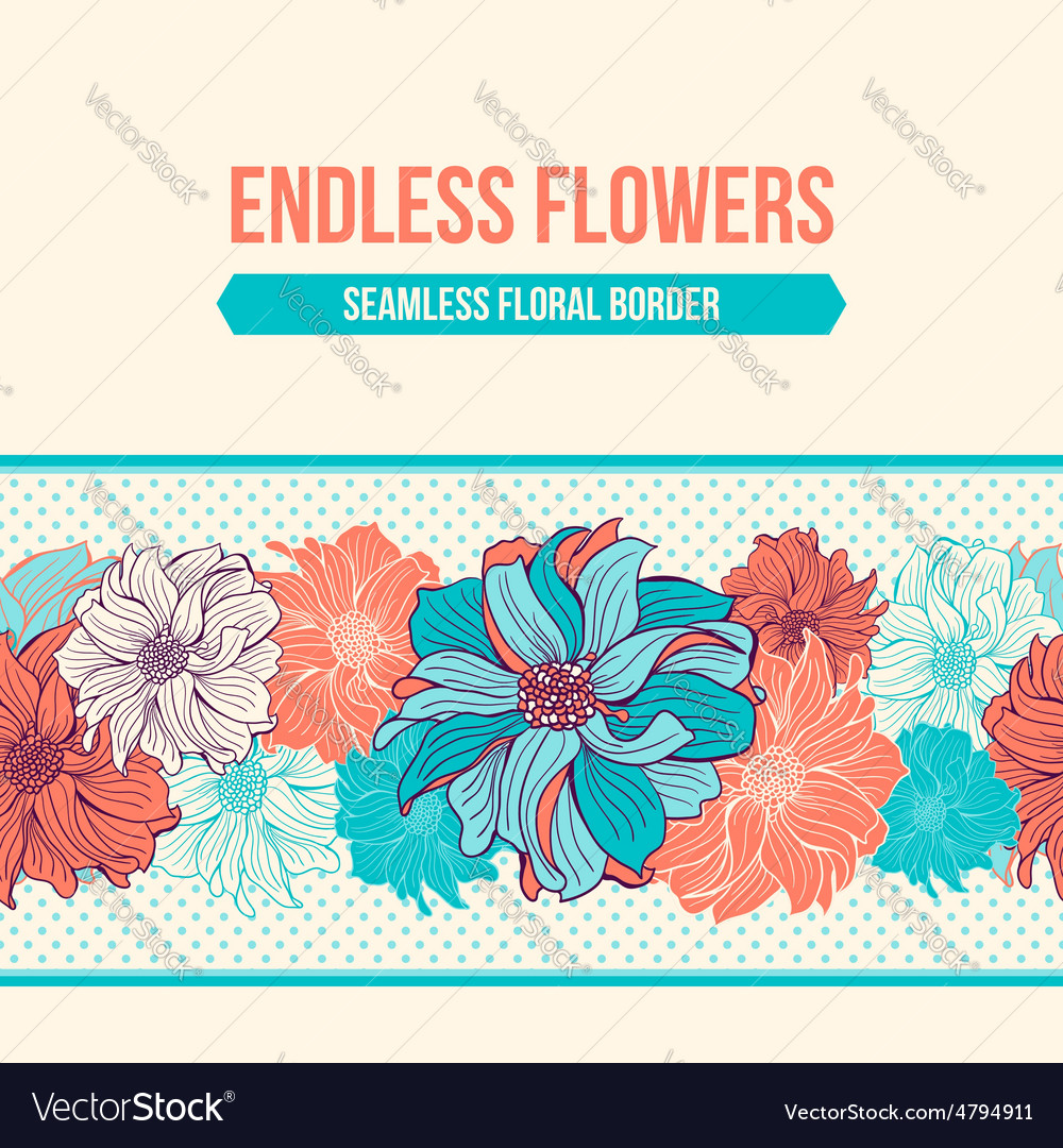 Handdrawn flowers of dahlia seamless border vector