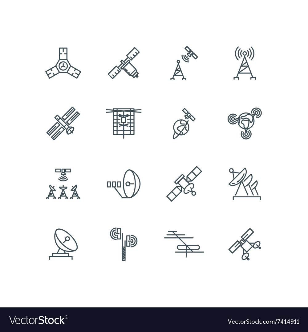 Orbit communication satellite line icons vector