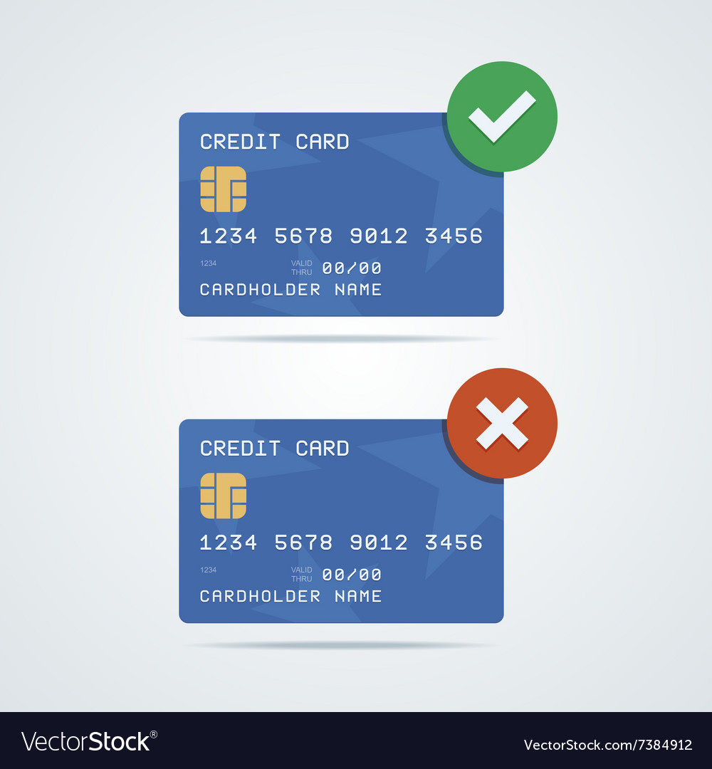 Credit debit card with chip number cardholder vector