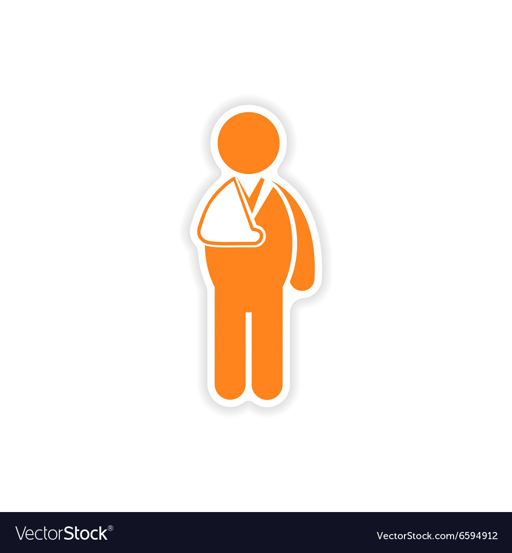 Paper sticker man with broken arm on white vector