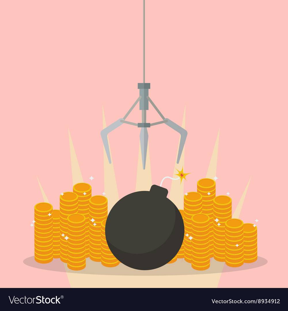 Robotic claw clutching a bomb against money vector