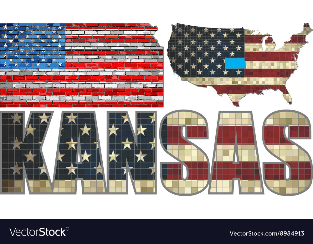 Usa state of kansas on a brick wall vector
