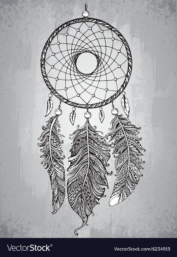 Hand drawn dream catcher with feathers in vector