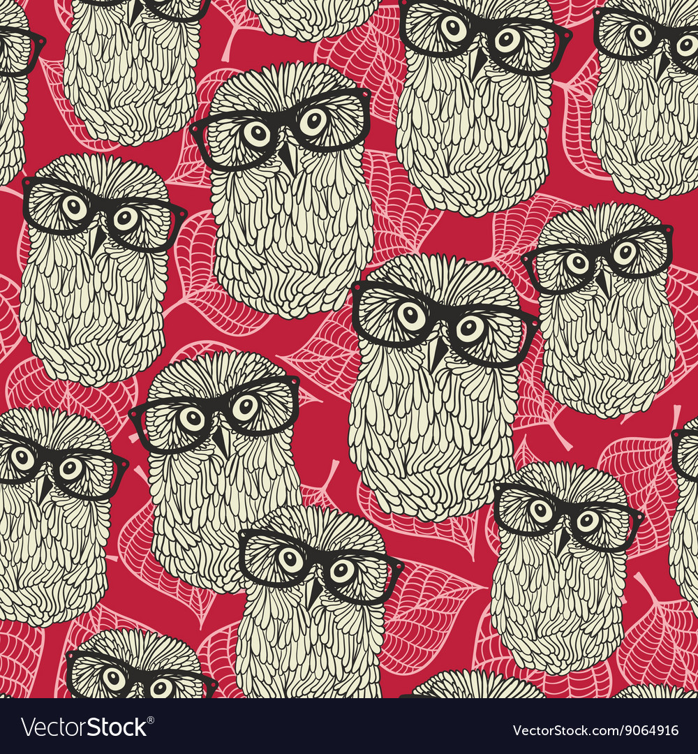 Seamless pattern with owls on the leaves vector