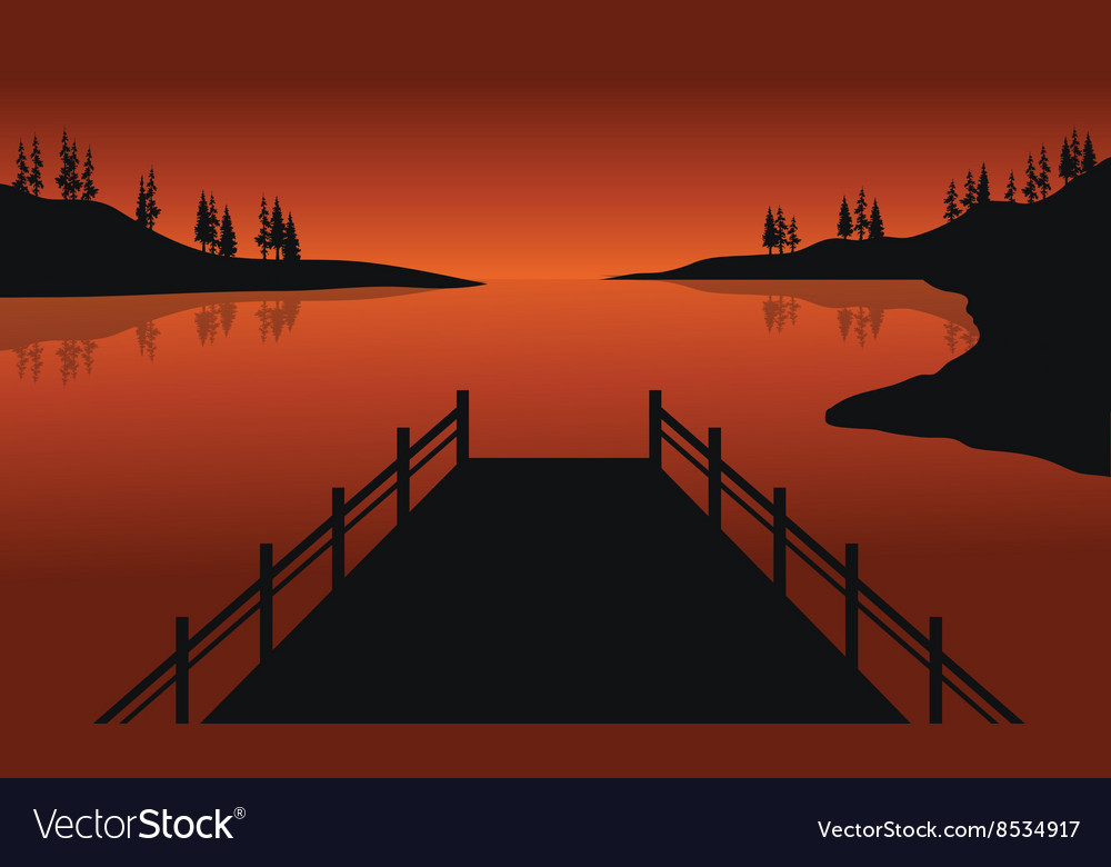 Beautiful silhouette of pier vector