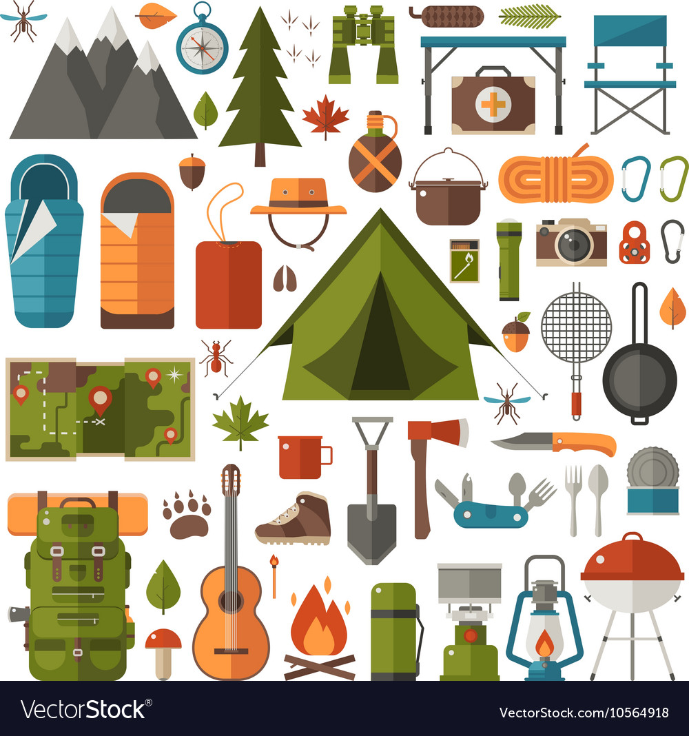 Camping and hiking equipment set vector