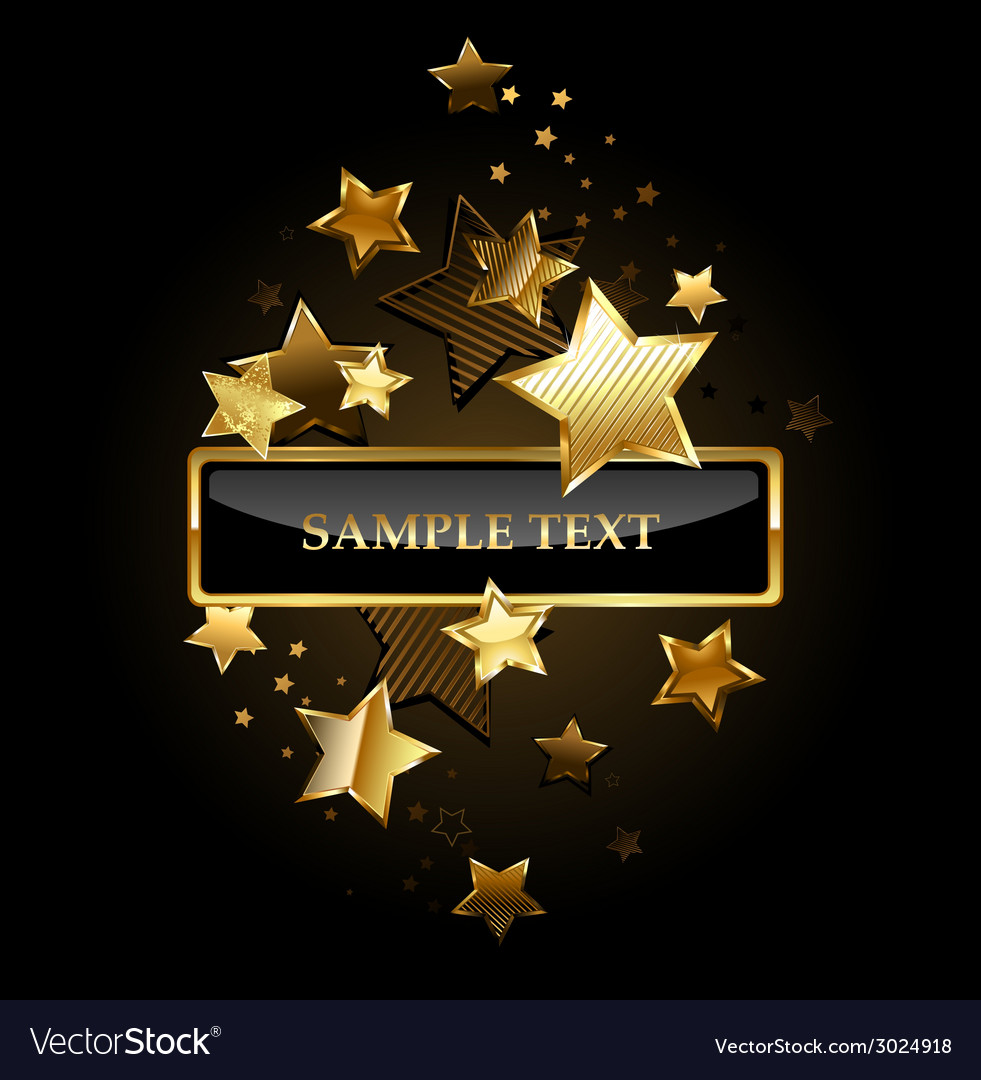 Rectangular banner with gold stars vector