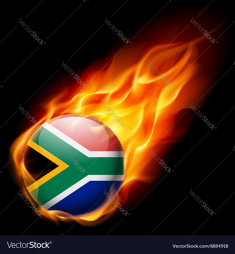 Round glossy icon of south africa vector