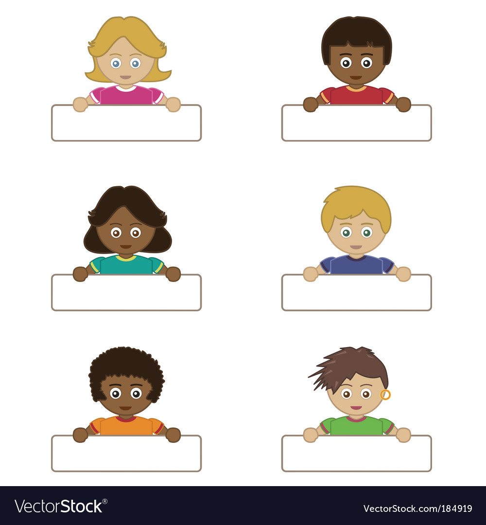 Children holding name tags vector