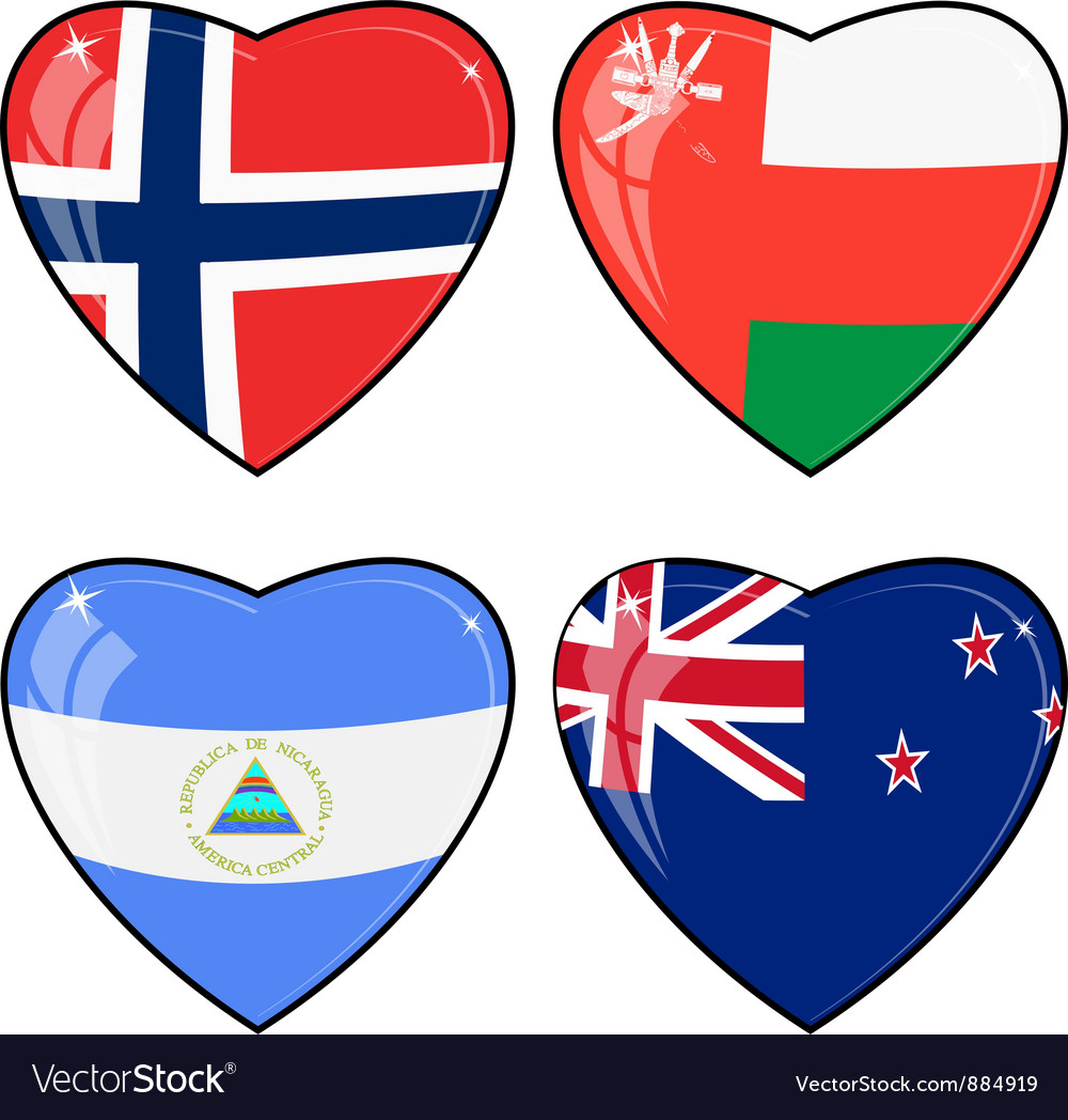 Set of images of hearts with the flags of norway vector