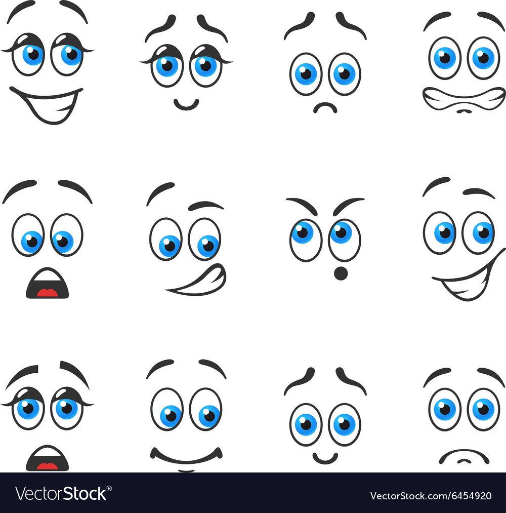 Different emotions with blue eyes vector