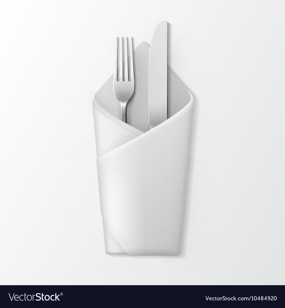 Folded envelope napkin with silver fork and knife vector